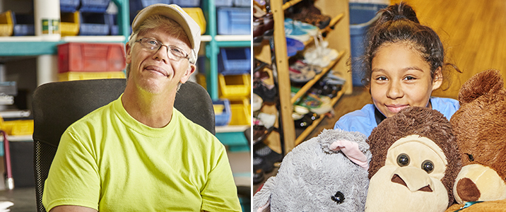 Fann Contracting employee Erik Kohn (left); young girl at GoodTHREADS (right)