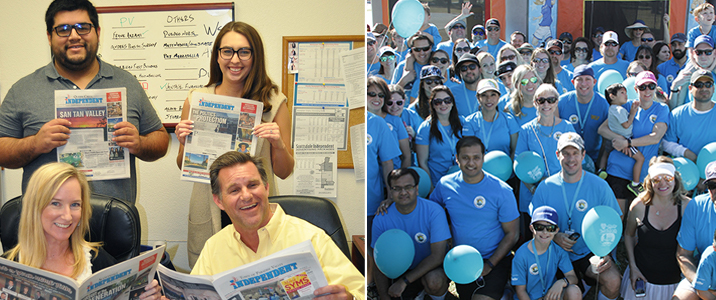 Left:Independent news team; Right: Willmeng employees, family and friends at the Teal Trek Walk